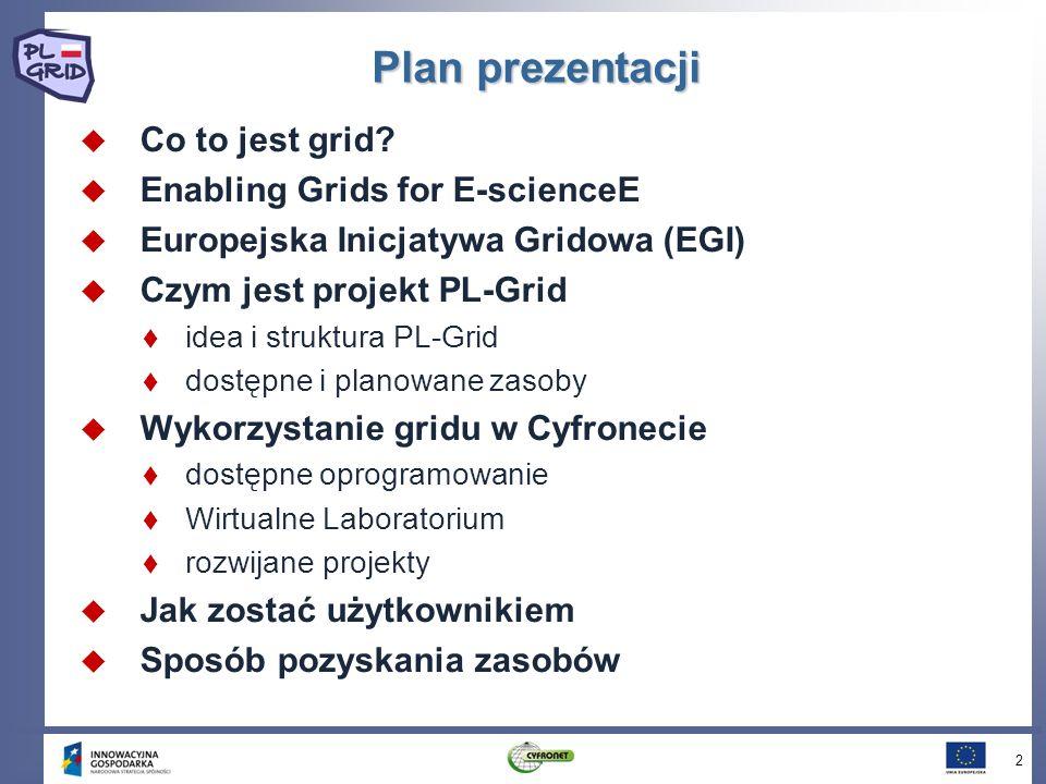 Idea PL-Grid Idea PL-Grid Otwarta ogólnopolska infrastruktura gridowa wspierająca uprawianie nauki w sposób umożliwiający integrację danych doświadczalnych i wyników zaawansowanych symulacji komputerowych badania mogą być prowadzone przez geograficznie rozproszone zespoły Dostarczanie polskiej społeczności naukowej usług informatycznych opartych na gridowych klastrach komputerowych, służących e-Nauce w różnych dziedzinach infrastruktura musi być kompatybilna i interoperabilna z gridem europejskim i światowym System skalowalny, pozwalający na dołączenie lokalnych klastrów komputerowych uczelni, instytutów badawczych czy platform technologicznych może być wykorzystany przez administrację państwową, zespoły zarządzania kryzysowego czy jednostki przemysłowe 13
