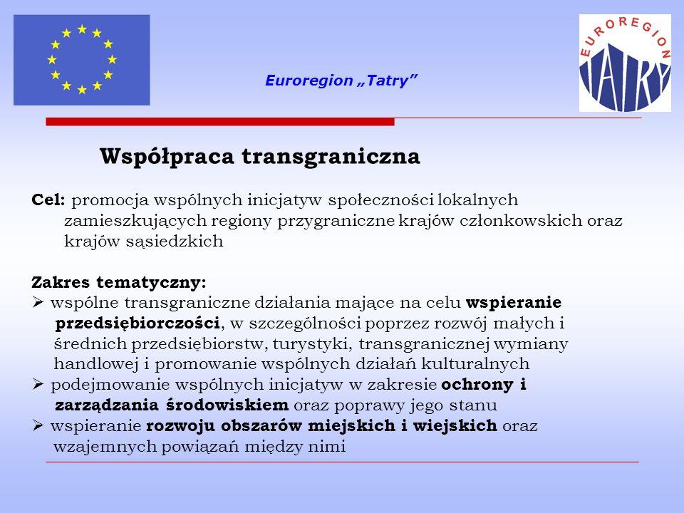 Euroregion Tatry Współpraca transgraniczna – zakres tematyczny poprawa dostępu do sieci transportowych, informacyjnych i komunikacyjnych, usprawnienie systemów dostarczania wody i energii oraz gospodarowania odpadami promowanie rozwoju i wspólnego wykorzystania infrastruktury w takich dziedzinach jak ochrona zdrowia, kultura i edukacja wspieranie współpracy administracyjnej oraz integracji społeczności lokalnych poprzez wspólne działania dotyczące rynku pracy, promocji równouprawnienia (w tym równouprawnienia kobiet i mężczyzn), rozwoju zasobów ludzkich, wspierania sektora B&R, itp.