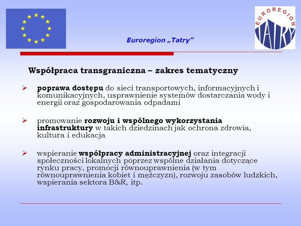 Euroregion Tatry Najważniejsze zasady Programu: wymagane partnerstwo wspólna realizacja projektów wspólna odpowiedzialność partnerów wspólna kadra zatrudniona do realizacji projektu wspólne finansowanie wspólne przygotowanie projektu równość mężczyzn i kobiet oraz niedyskryminacja zrównoważony rozwój oraz propagowanie ochrony i poprawy jakości środowiska naturalnego