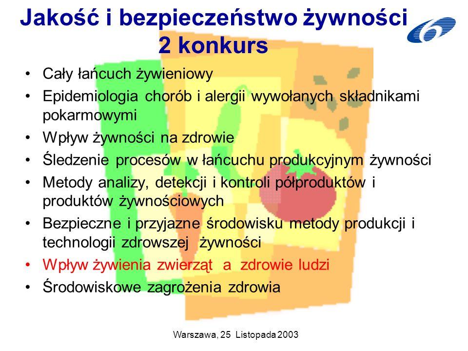 Warszawa, 25 Listopada 2003 Jakość i bezpieczeństwo żywności 2 konkurs Cały łańcuch żywieniowy Epidemiologia chorób i alergii wywołanych składnikami p