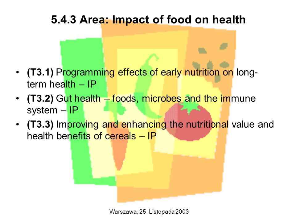 Warszawa, 25 Listopada 2003 5.4.3 Area: Impact of food on health (T3.1) Programming effects of early nutrition on long- term health – IP (T3.2) Gut he