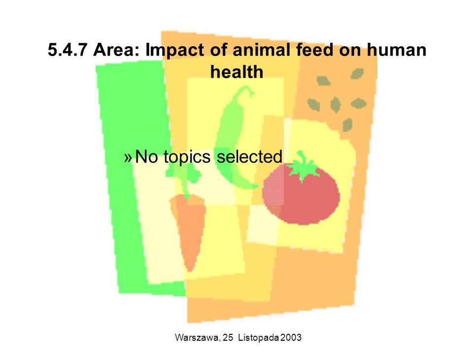 Warszawa, 25 Listopada 2003 5.4.7 Area: Impact of animal feed on human health »No topics selected
