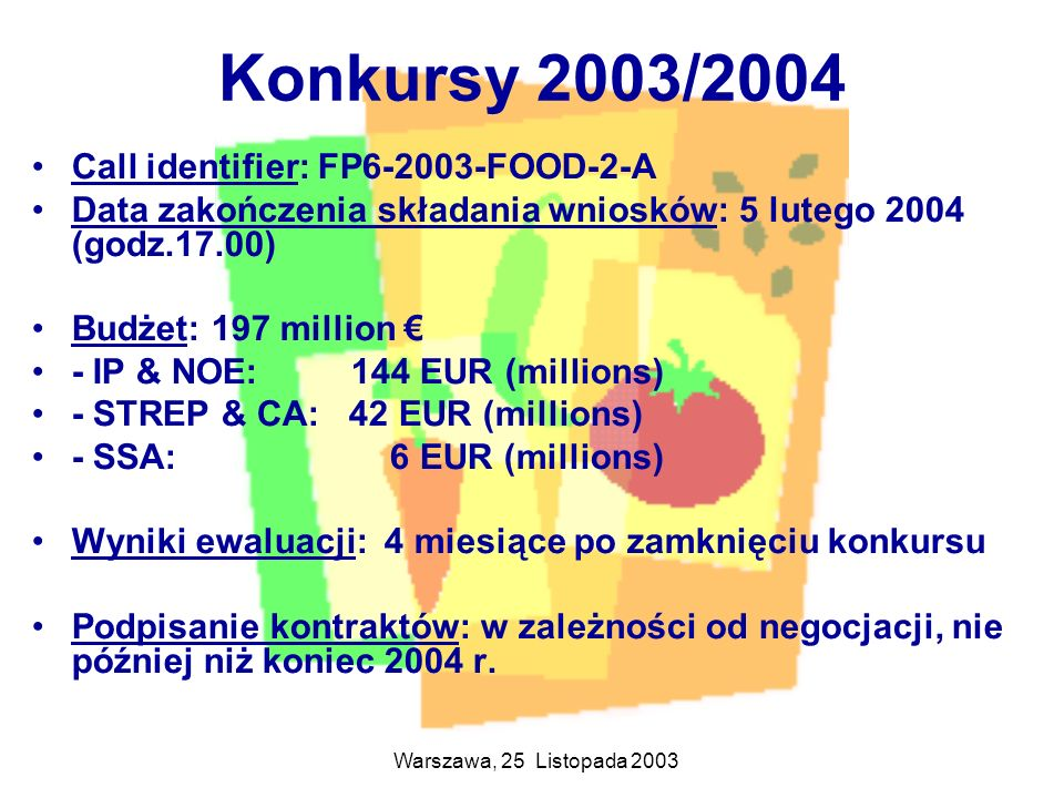 Warszawa, 25 Listopada 2003 Konkursy 2003/2004 Call identifier: FP6-2003-FOOD-2-A Data zakończenia składania wniosków: 5 lutego 2004 (godz.17.00) Budż