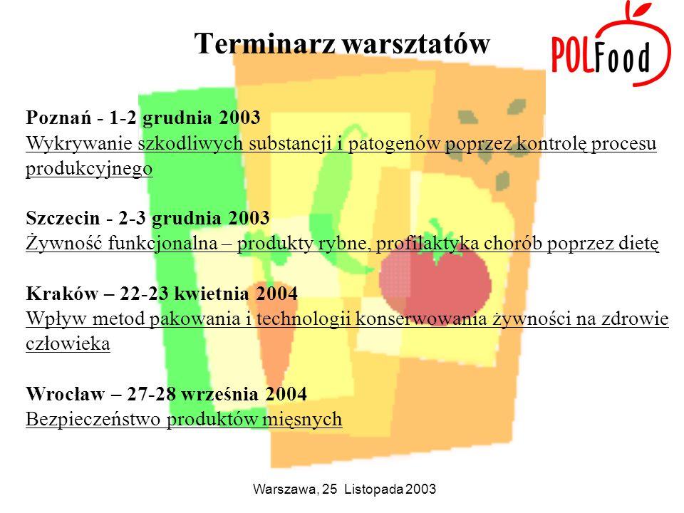 Warszawa, 25 Listopada 2003 Terminarz warsztatów Poznań - 1-2 grudnia 2003 Wykrywanie szkodliwych substancji i patogenów poprzez kontrolę procesu prod