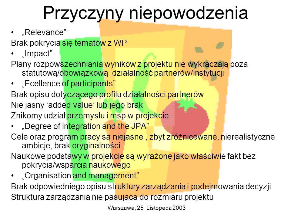 Warszawa, 25 Listopada 2003 Przyczyny niepowodzenia Relevance Brak pokrycia się tematów z WP Impact Plany rozpowszechniania wyników z projektu nie wyk
