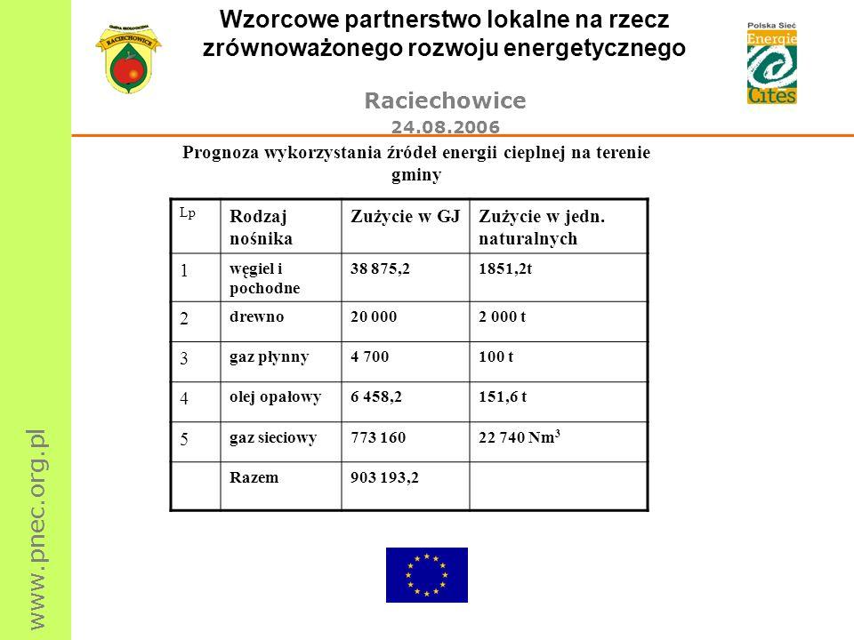 www.pnec.org.pl Wzorcowe partnerstwo lokalne na rzecz zrównoważonego rozwoju energetycznego Raciechowice 24.08.2006 Prognoza wykorzystania źródeł ener