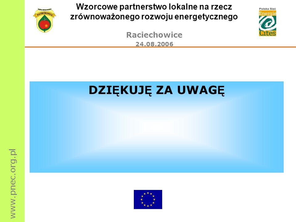 www.pnec.org.pl Wzorcowe partnerstwo lokalne na rzecz zrównoważonego rozwoju energetycznego Raciechowice 24.08.2006 DZI Ę KUJ Ę ZA UWAG Ę