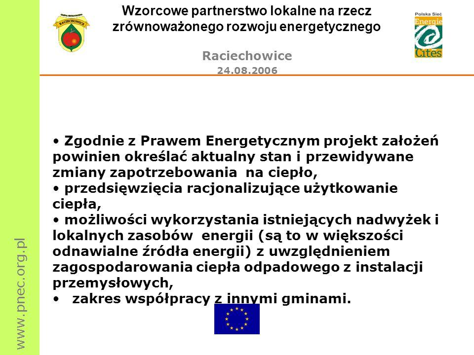 www.pnec.org.pl Wzorcowe partnerstwo lokalne na rzecz zrównoważonego rozwoju energetycznego Raciechowice 24.08.2006 Potrzeby energetyczne gminy - stan obecny 1.