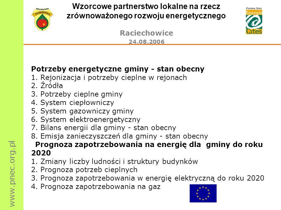www.pnec.org.pl Wzorcowe partnerstwo lokalne na rzecz zrównoważonego rozwoju energetycznego Raciechowice 24.08.2006 Potrzeby energetyczne gminy - stan