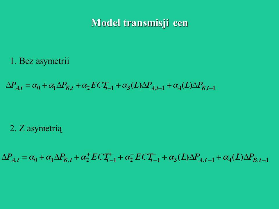 Model transmisji cen 1. Bez asymetrii 2. Z asymetrią