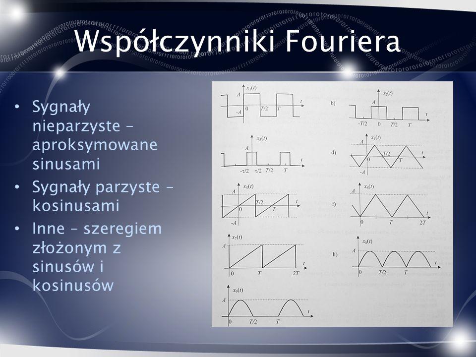 Współczynniki Fouriera Sygnały nieparzyste – aproksymowane sinusami Sygnały parzyste – kosinusami Inne – szeregiem złożonym z sinusów i kosinusów