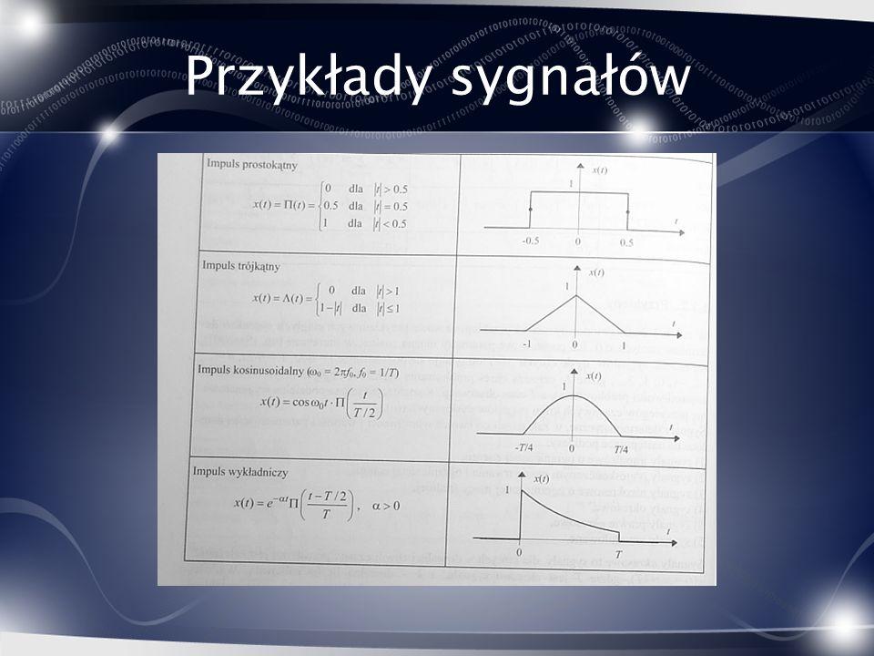 Splot – wizualizacja 1.Wyraź funkcje jako funkcję tymczasowej zmiennej tau 2.Odwróć jedną z funkcji względem tau 3.Dodaj przesunięcie t 4.Przesuwaj t od – do +.