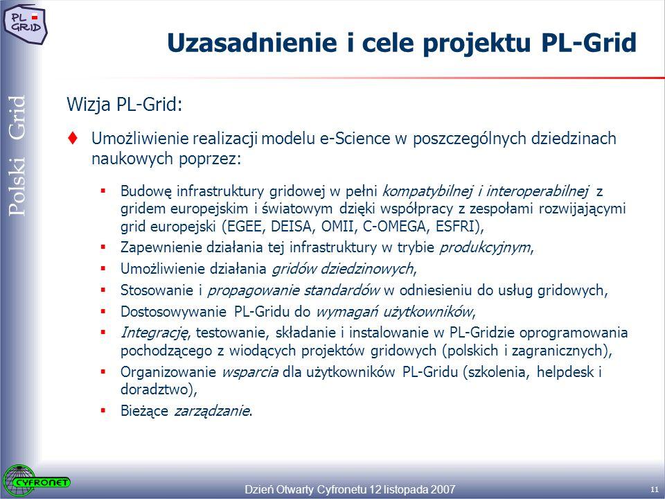 Dzień Otwarty Cyfronetu 12 listopada 2007 11 Polski Grid Uzasadnienie i cele projektu PL-Grid Wizja PL-Grid: Umożliwienie realizacji modelu e-Science w poszczególnych dziedzinach naukowych poprzez: Budowę infrastruktury gridowej w pełni kompatybilnej i interoperabilnej z gridem europejskim i światowym dzięki współpracy z zespołami rozwijającymi grid europejski (EGEE, DEISA, OMII, C-OMEGA, ESFRI), Zapewnienie działania tej infrastruktury w trybie produkcyjnym, Umożliwienie działania gridów dziedzinowych, Stosowanie i propagowanie standardów w odniesieniu do usług gridowych, Dostosowywanie PL-Gridu do wymagań użytkowników, Integrację, testowanie, składanie i instalowanie w PL-Gridzie oprogramowania pochodzącego z wiodących projektów gridowych (polskich i zagranicznych), Organizowanie wsparcia dla użytkowników PL-Gridu (szkolenia, helpdesk i doradztwo), Bieżące zarządzanie.