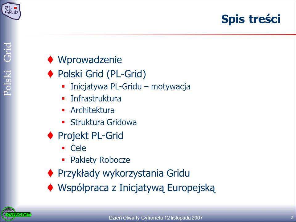 Dzień Otwarty Cyfronetu 12 listopada 2007 13 Polski Grid Infrastruktura PL-Grid Dziedzinowe systemy gridowe mogą być rozwijane i utrzymywane w ramach odrębnych projektów.