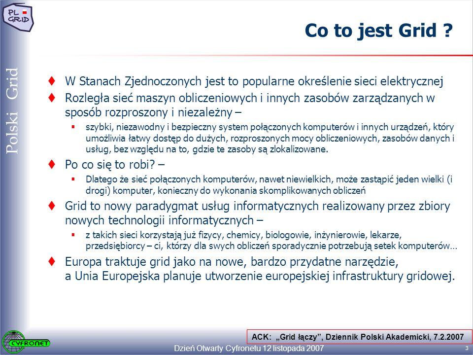 Dzień Otwarty Cyfronetu 12 listopada 2007 14 Polski Grid Struktura PL-Grid Infrastruktura PL-Grid będzie bazą dla Gridów dziedzinowych, obejmujących usługi i narzędzia zorientowane na specyficzne typy aplikacji Użytkownicy Krajowa sieć komputerowa Warstwa dostępowa/ tworzenia aplikacji System Wirtualnych organizacji i bezpieczeństwa Podstawowe usługi gridowe Usługi gridowe LCG/gLite (EGEE) UNICORE (DEISA) Other Systemy gridowe Zasoby gridowe Rozproszone zasoby obliczeniowe Portale gridowe, narzędzia programistyczne Rozproszone repozytoria danych