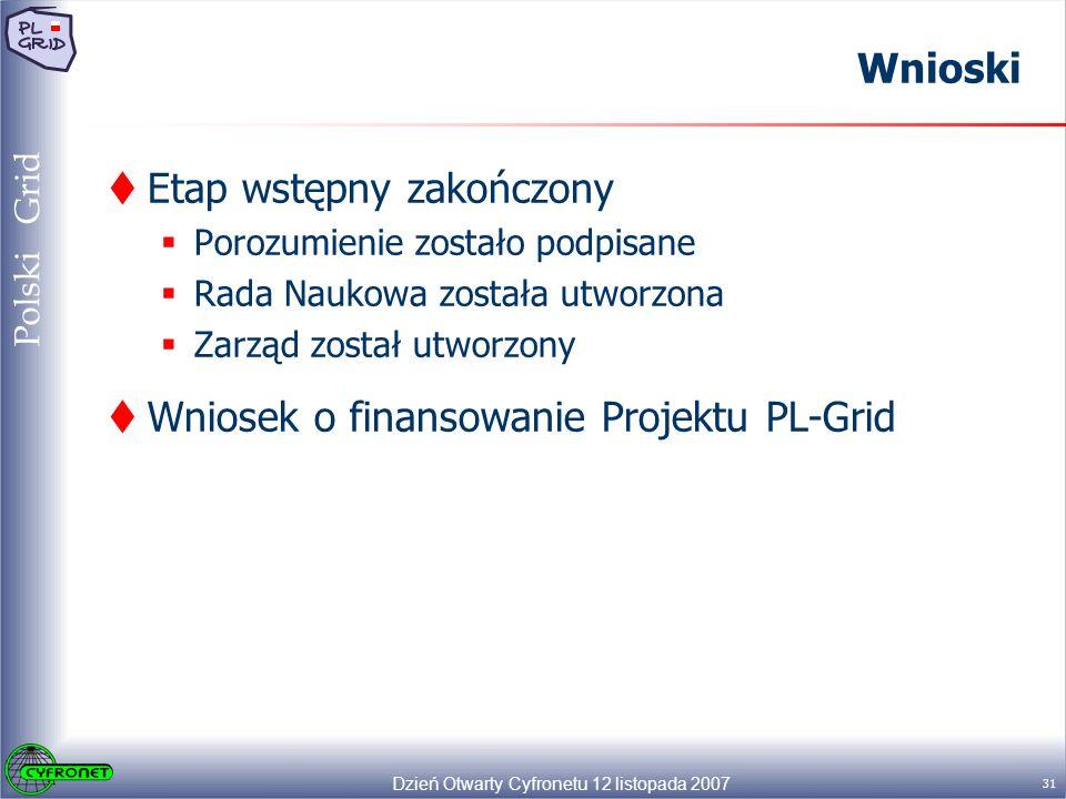 Dzień Otwarty Cyfronetu 12 listopada 2007 31 Polski Grid Wnioski Etap wstępny zakończony Porozumienie zostało podpisane Rada Naukowa została utworzona Zarząd został utworzony Wniosek o finansowanie Projektu PL-Grid
