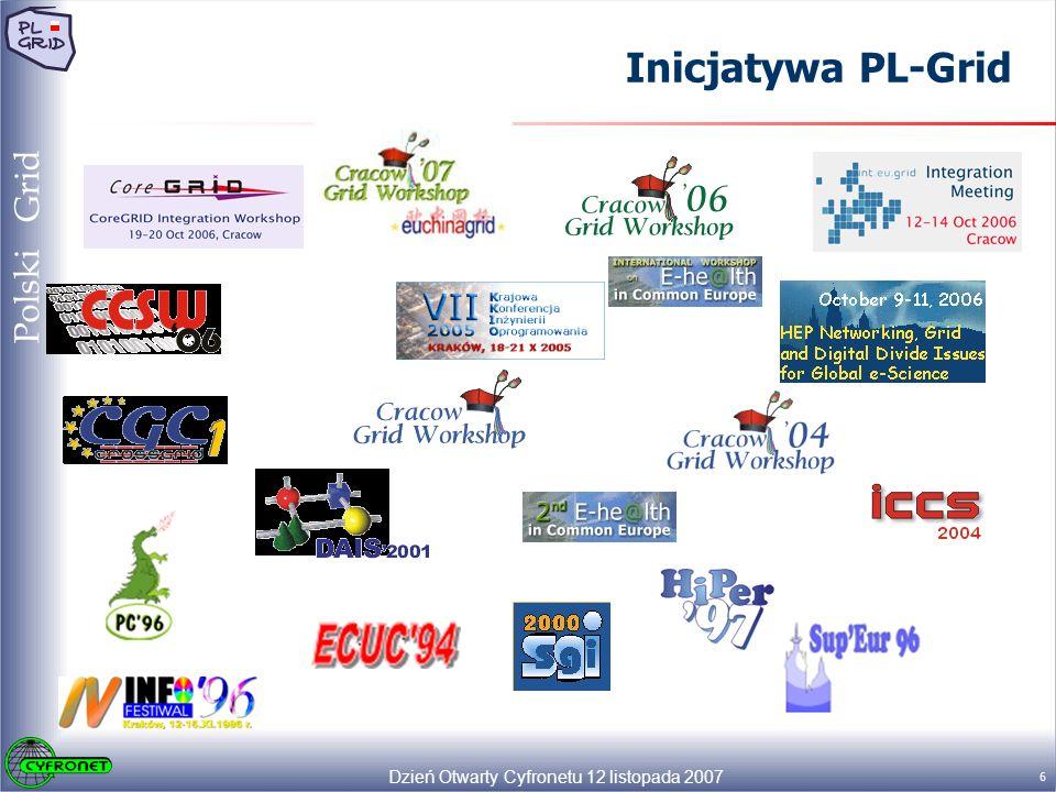 Dzień Otwarty Cyfronetu 12 listopada 2007 7 Polski Grid Inicjatywa PL-Grid Głównym celem inicjatywy budowy ogólnopolskiej infrastruktury gridowej jest rozwój i stworzenie w Polsce, stabilnej infrastruktury zasobów obliczeniowych i gromadzenia danych, a także podstawowych usług dla nauki - w pełni kompatybilnej i interoperabilnej z gridem europejskim i światowym.