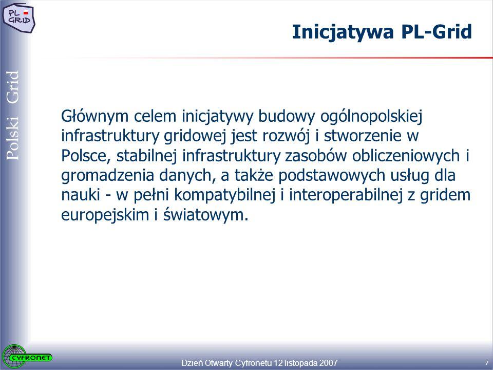 Dzień Otwarty Cyfronetu 12 listopada 2007 18 Polski Grid Pakiety Robocze PL-Grid Ogólne założenia funkcjonowania PL-Gridu, które będą realizowane w ramach poszczególnych pakietów: Wsparcie dla systemów produkcyjnych EGEE i DEISA; Współpraca systemów produkcyjnych gLite i UNICORE - symetryczna; Otwarcie na nowe systemy gridowe; Wyodrębnianie zasobów do celów badawczych; Efektywne zarządzanie zasobami (system monitorowania oraz zarządzania zasobami); Współpraca z dostawcą sieci (PIONIER); Wspieranie adaptacji aplikacji – usługi techniczne i adaptacyjne; Rozwój oprogramowania PL-Gridu (użytecznego dla PL-Gridu i użytkowników).