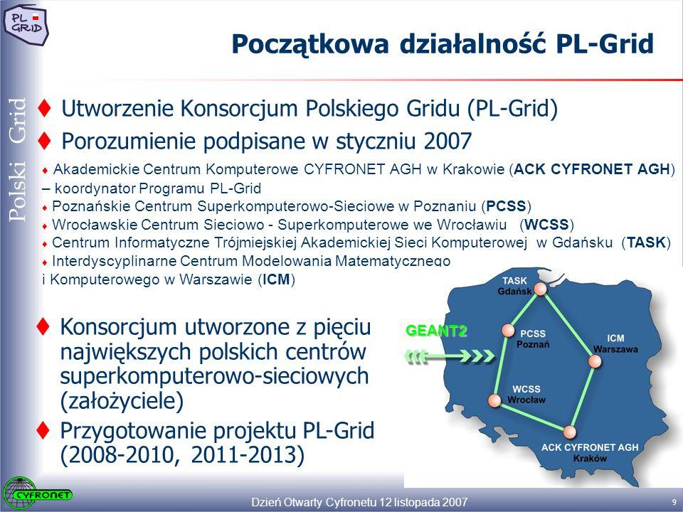 Dzień Otwarty Cyfronetu 12 listopada 2007 9 Polski Grid Początkowa działalność PL-Grid Utworzenie Konsorcjum Polskiego Gridu (PL-Grid) Porozumienie podpisane w styczniu 2007 Akademickie Centrum Komputerowe CYFRONET AGH w Krakowie (ACK CYFRONET AGH) – koordynator Programu PL-Grid Poznańskie Centrum Superkomputerowo-Sieciowe w Poznaniu (PCSS) Wrocławskie Centrum Sieciowo - Superkomputerowe we Wrocławiu (WCSS) Centrum Informatyczne Trójmiejskiej Akademickiej Sieci Komputerowej w Gdańsku (TASK) Interdyscyplinarne Centrum Modelowania Matematycznego i Komputerowego w Warszawie (ICM) Konsorcjum utworzone z pięciu największych polskich centrów superkomputerowo-sieciowych (założyciele) Przygotowanie projektu PL-Grid (2008-2010, 2011-2013) GEANT2