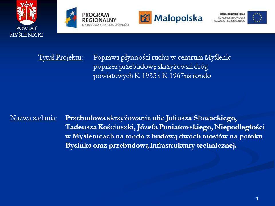 1 POWIAT MYŚLENICKI Tytuł Projektu:Poprawa płynności ruchu w centrum Myślenic poprzez przebudowę skrzyżowań dróg powiatowych K 1935 i K 1967na rondo N