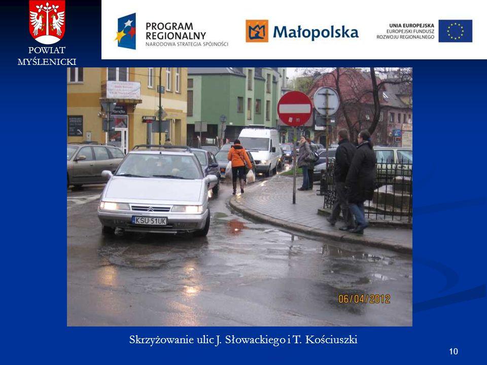 10 POWIAT MYŚLENICKI Skrzyżowanie ulic J. Słowackiego i T. Kościuszki