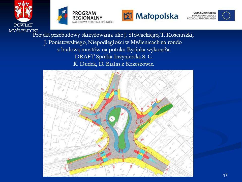 17 POWIAT MYŚLENICKI Projekt przebudowy skrzyżowania ulic J. Słowackiego, T. Kościuszki, J. Poniatowskiego, Niepodległości w Myślenicach na rondo z bu
