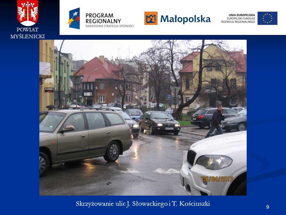 9 POWIAT MYŚLENICKI Skrzyżowanie ulic J. Słowackiego i T. Kościuszki