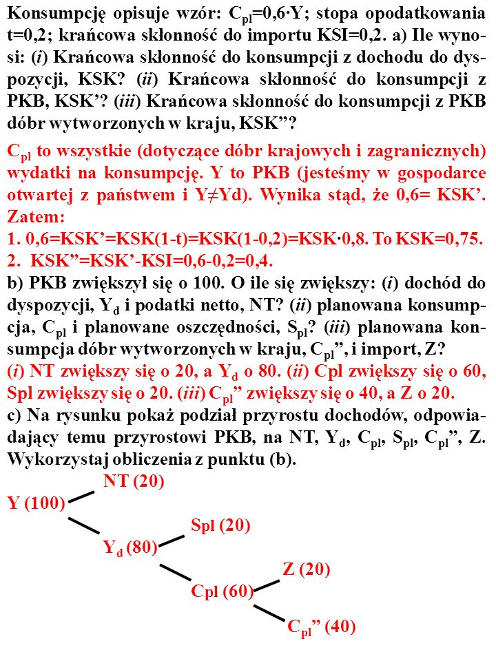 42 ZADANIE Konsumpcję opisuje wzór: C pl =0,6·Y; stopa opodatkowania t=0,2; krańcowa skłonność do importu KSI=0,2. a) Ile wyno- si: (i) Krańcowa skłon