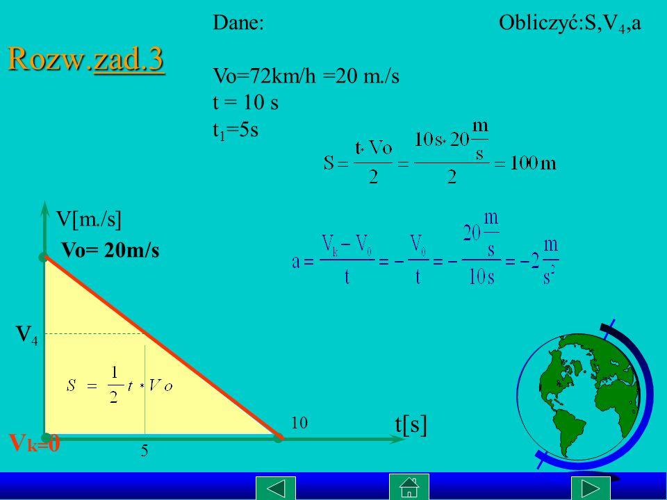 Wykres zależności S(t) w ruchu jednostajnie przyśpieszonym. a =4m/s 2 cd..rozw. zad.2 S[m.] t[s] 1 2 2 4 6 8 0