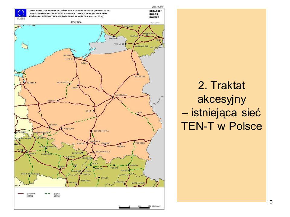 10 2. Traktat akcesyjny – istniejąca sieć TEN-T w Polsce