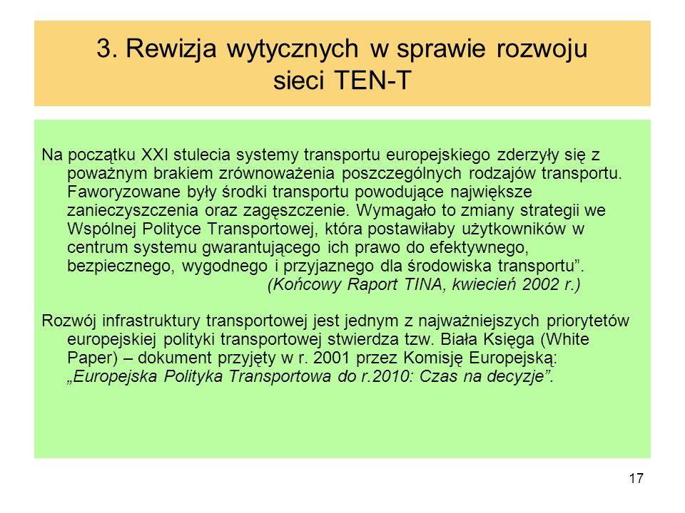 17 3. Rewizja wytycznych w sprawie rozwoju sieci TEN-T Na początku XXI stulecia systemy transportu europejskiego zderzyły się z poważnym brakiem zrówn