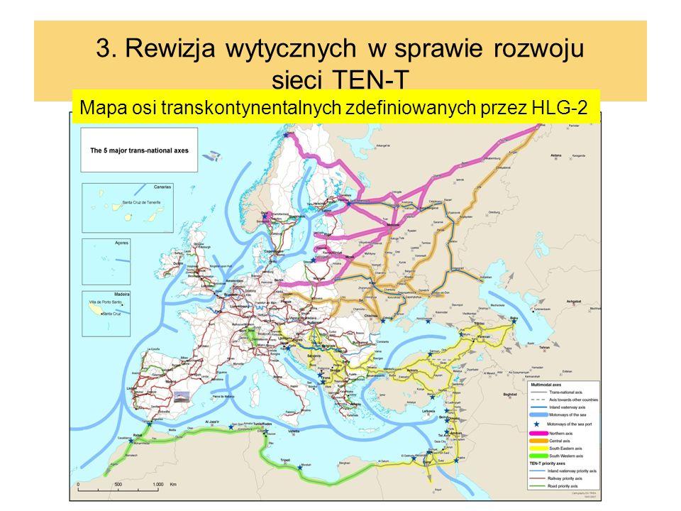 19 3. Rewizja wytycznych w sprawie rozwoju sieci TEN-T Mapa osi transkontynentalnych zdefiniowanych przez HLG-2