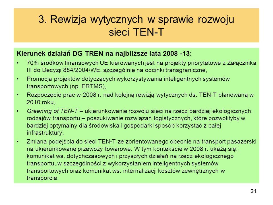 21 3. Rewizja wytycznych w sprawie rozwoju sieci TEN-T Kierunek działań DG TREN na najbliższe lata 2008 -13: 70% środków finansowych UE kierowanych je
