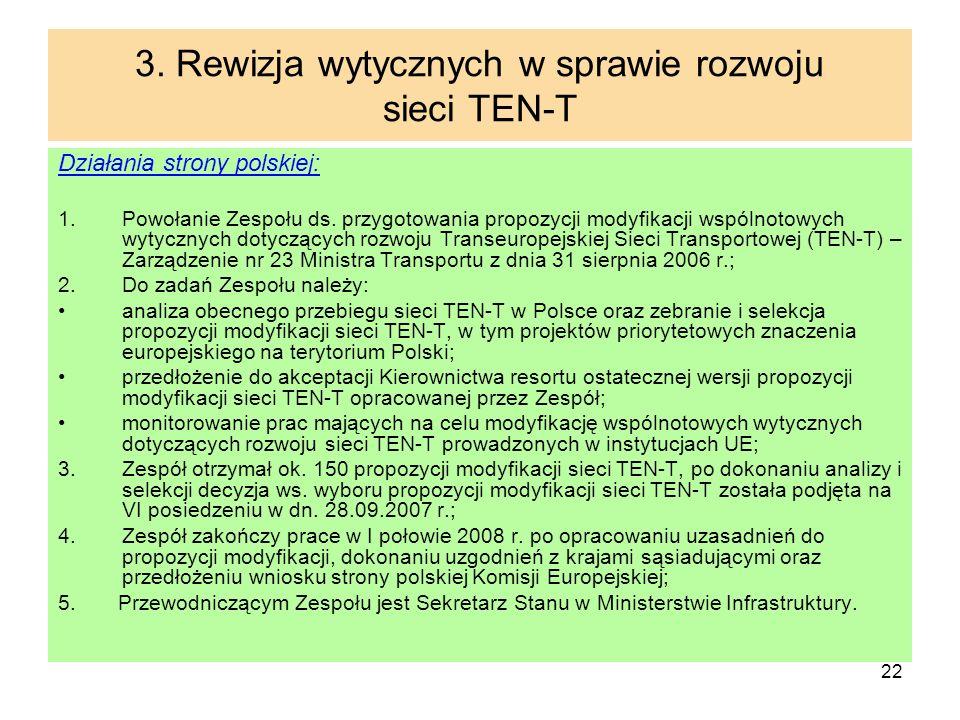 22 3. Rewizja wytycznych w sprawie rozwoju sieci TEN-T Działania strony polskiej: 1.Powołanie Zespołu ds. przygotowania propozycji modyfikacji wspólno