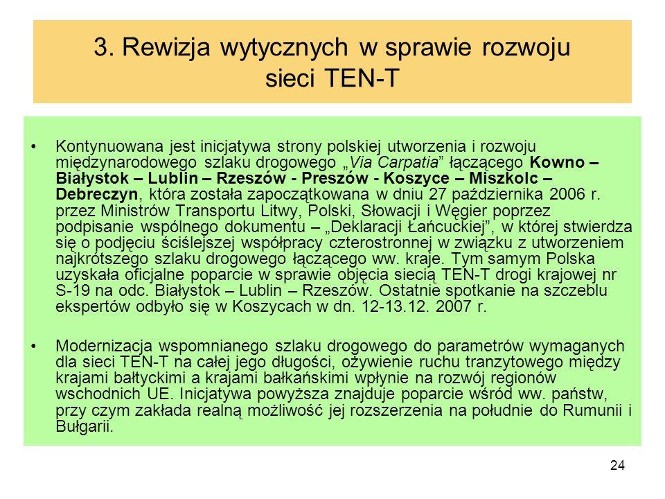 24 3. Rewizja wytycznych w sprawie rozwoju sieci TEN-T Kontynuowana jest inicjatywa strony polskiej utworzenia i rozwoju międzynarodowego szlaku drogo