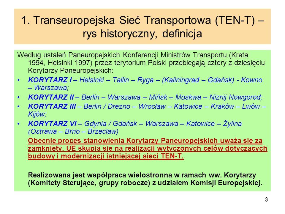 3 1. Transeuropejska Sieć Transportowa (TEN-T) – rys historyczny, definicja Według ustaleń Paneuropejskich Konferencji Ministrów Transportu (Kreta 199