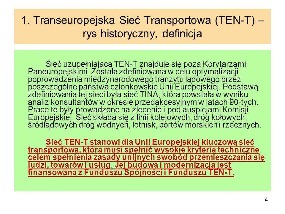 4 1. Transeuropejska Sieć Transportowa (TEN-T) – rys historyczny, definicja Sieć uzupełniająca TEN-T znajduje się poza Korytarzami Paneuropejskimi. Zo