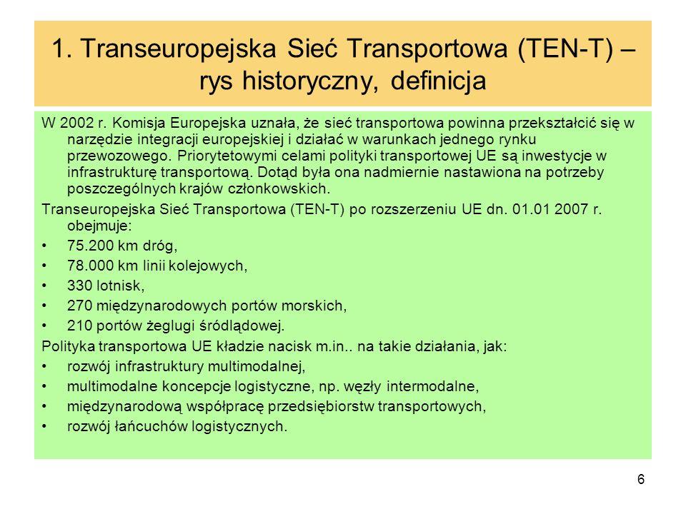 6 1. Transeuropejska Sieć Transportowa (TEN-T) – rys historyczny, definicja W 2002 r. Komisja Europejska uznała, że sieć transportowa powinna przekszt