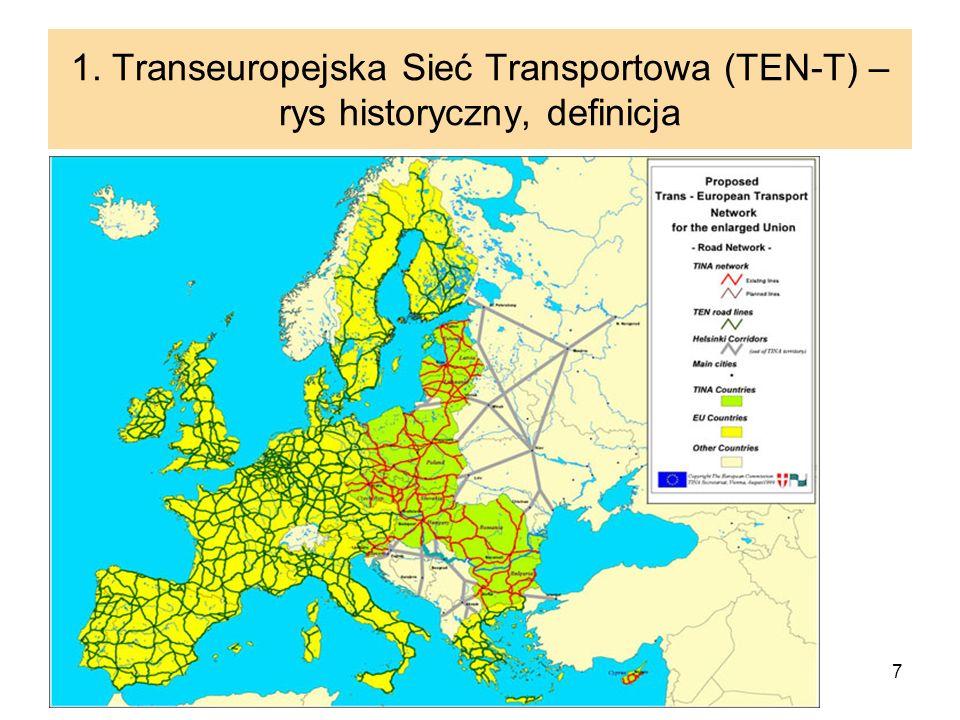 7 1. Transeuropejska Sieć Transportowa (TEN-T) – rys historyczny, definicja