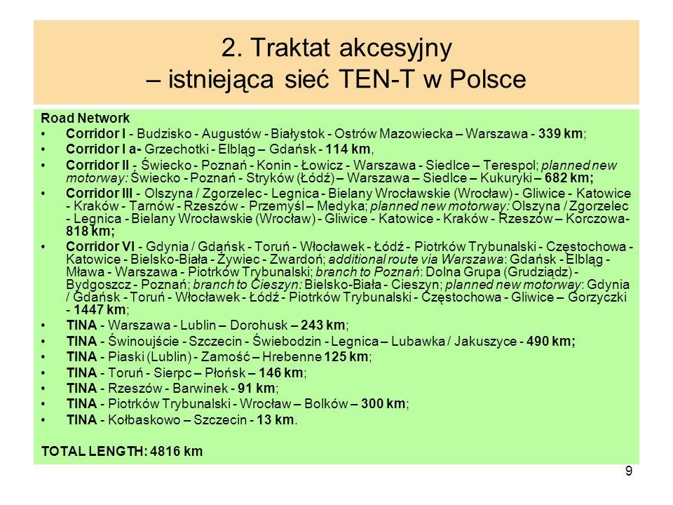 9 2. Traktat akcesyjny – istniejąca sieć TEN-T w Polsce Road Network Corridor I - Budzisko - Augustów - Białystok - Ostrów Mazowiecka – Warszawa - 339