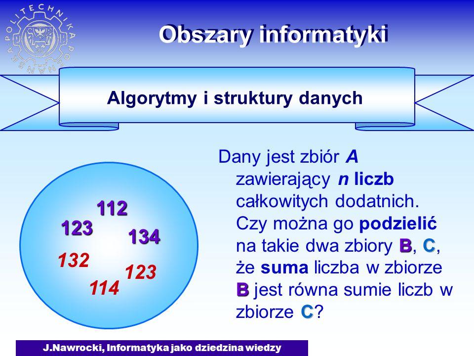 J.Nawrocki, Informatyka jako dziedzina wiedzy Obszary informatyki Algorytmy i struktury danych Klasy algorytmów : Wielomianowe: p: czas(n) p(n) Wykładnicze: p: czas(n) p(n) Klasy problemów : Wielomianowe: alg.