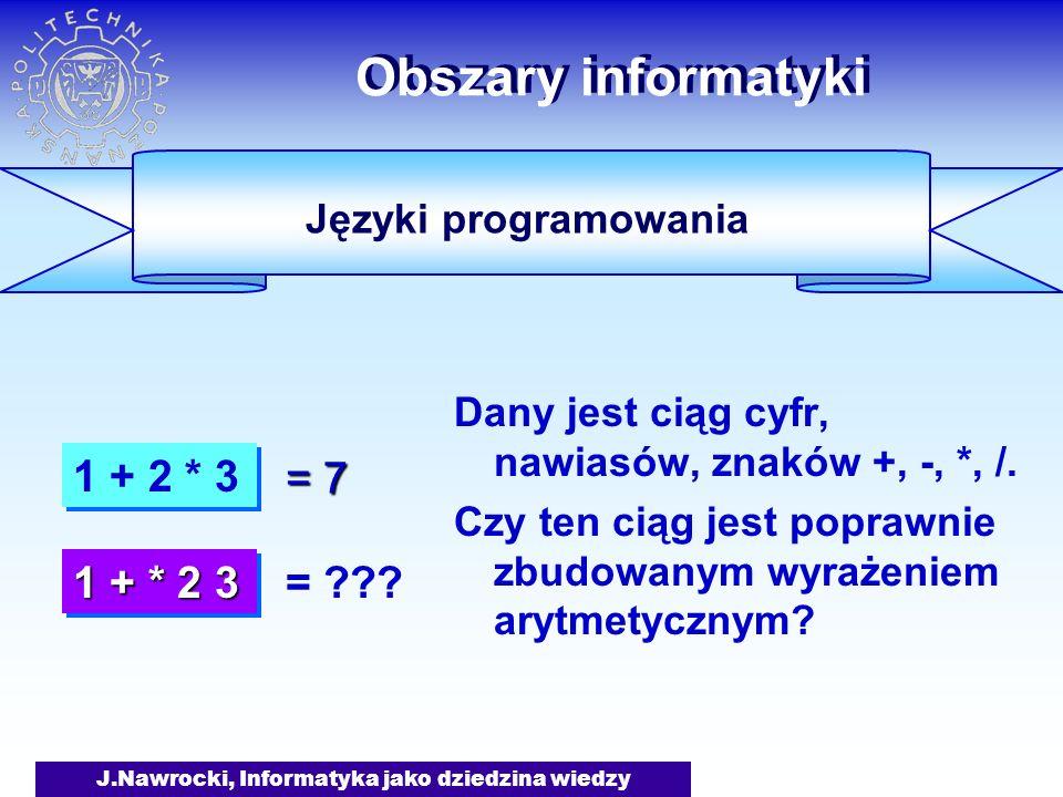 J.Nawrocki, Informatyka jako dziedzina wiedzy Obszary informatyki Dany jest ciąg cyfr, nawiasów, znaków +, -, *, /. Czy ten ciąg jest poprawnie zbudow
