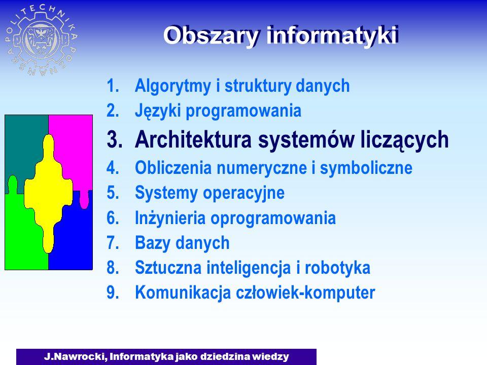 J.Nawrocki, Informatyka jako dziedzina wiedzy Obszary informatyki Jest mała i szybka pamięć operacyjna i duża lecz wolna pamięć dyskowa.