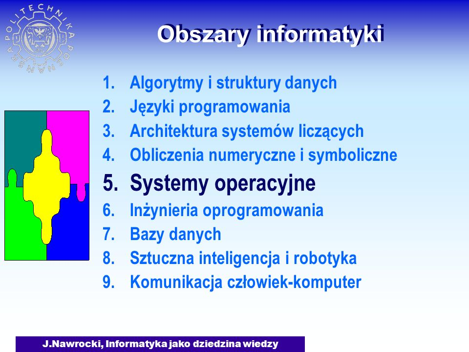 J.Nawrocki, Informatyka jako dziedzina wiedzy Obszary informatyki Jak uniknąć zastoju w systemie.