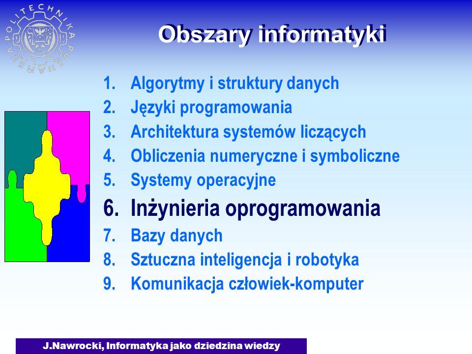 J.Nawrocki, Informatyka jako dziedzina wiedzy Obszary informatyki 1.Algorytmy i struktury danych 2.Języki programowania 3.Architektura systemów licząc