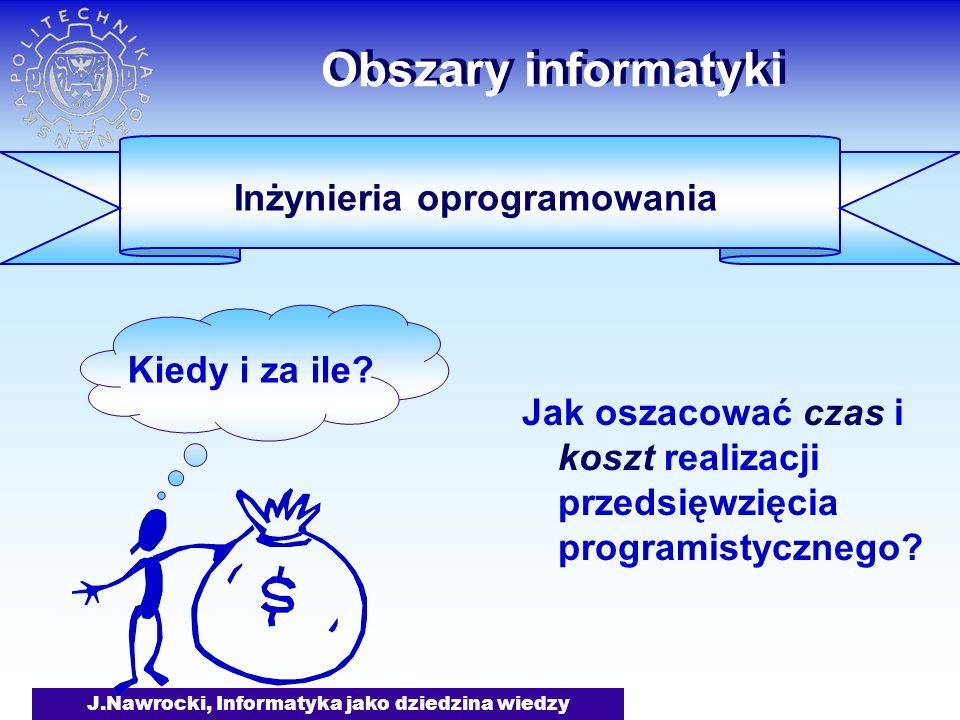 J.Nawrocki, Informatyka jako dziedzina wiedzy Obszary informatyki Jak oszacować czas i koszt realizacji przedsięwzięcia programistycznego? Kiedy i za