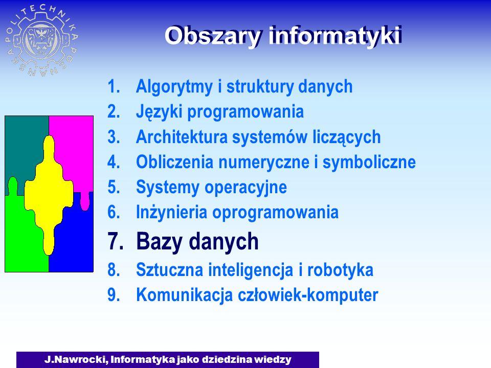 J.Nawrocki, Informatyka jako dziedzina wiedzy Obszary informatyki Jak manipulować dużą ilością danych.