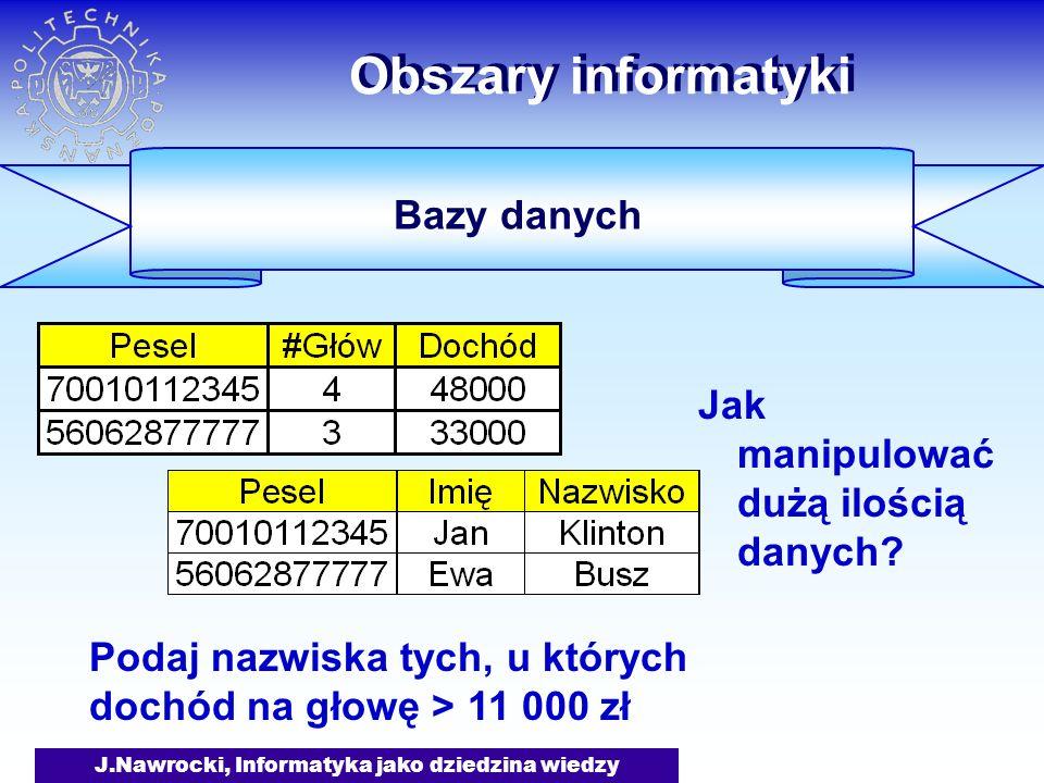 J.Nawrocki, Informatyka jako dziedzina wiedzy Obszary informatyki Jak manipulować dużą ilością danych? Podaj nazwiska tych, u których dochód na głowę