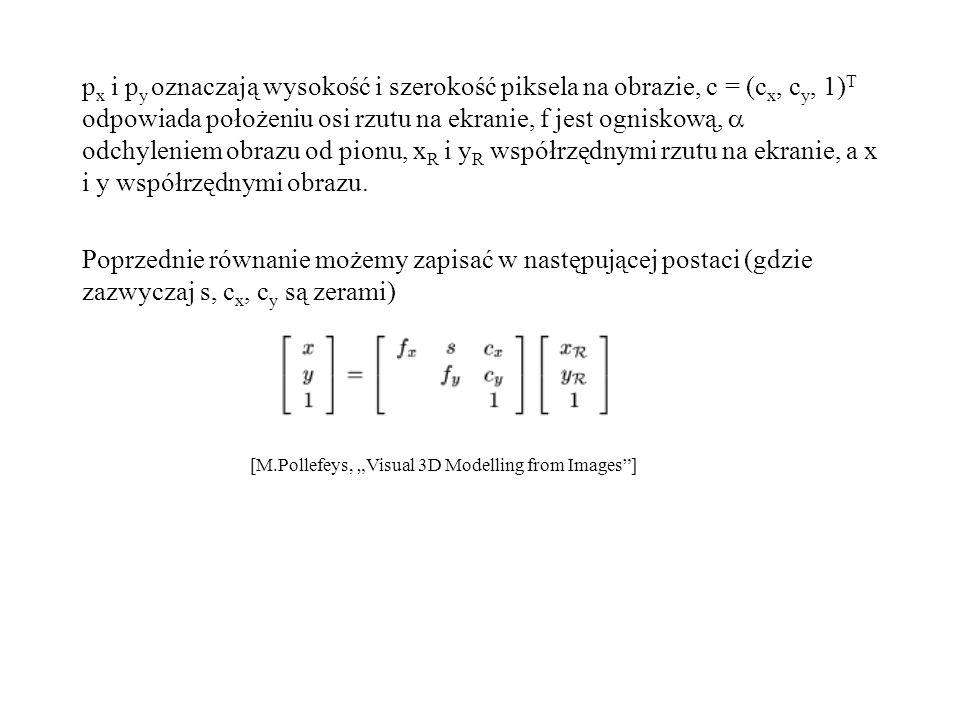 p x i p y oznaczają wysokość i szerokość piksela na obrazie, c = (c x, c y, 1) T odpowiada położeniu osi rzutu na ekranie, f jest ogniskową, odchyleni