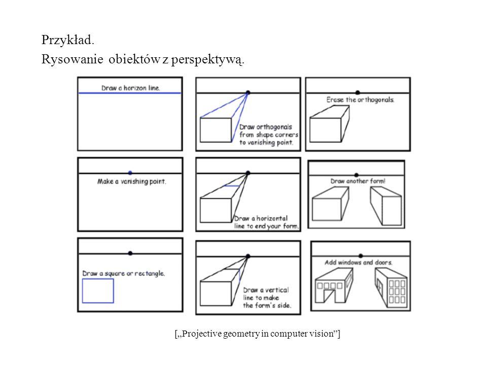 Przykład. Rysowanie obiektów z perspektywą. [Projective geometry in computer vision]